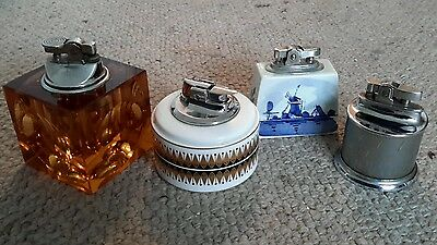 Collection of 4 Vintage Table Cigarette Lighters, Tobacciana