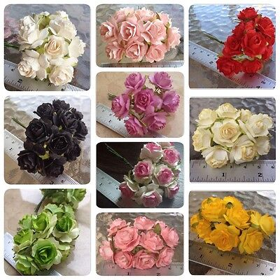 50 Artificial Mulberry Paper Rose flowers Petal Handmade Scrap-booking 2.5 cm#AU