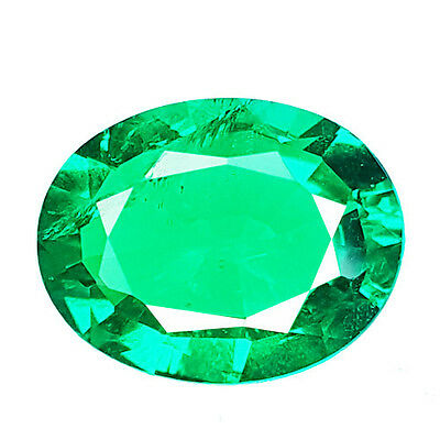 GRACEFUL 3.05 Ct COLOMBIAN GREEN COLOR BIRON OVAL SHAPE LAB CREATED GEMSTONE