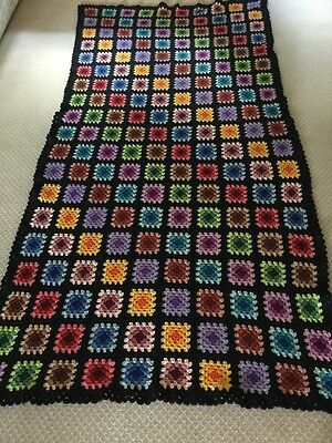 "Handmade Vintage Granny Square Afghan Crochet Multi-colored 44""x84"""