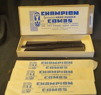Vintage 1940s 50s German Made Champion Hard Rubber Barber Combs