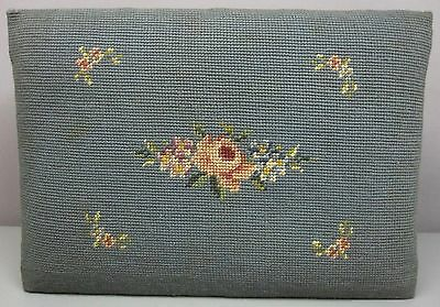 """EMBROIDERED OAK FOOT STOOL__Vintage Floral Needlepoint__14.5""""x10.5""""__SHIPS FREE"""