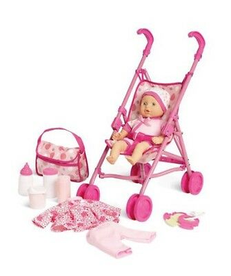 New Baby Doll Playset With Stroller, Diaper Bag, Clothing, Outfits, Bottle, Care