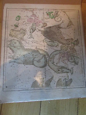 1835 Dated Map Of The Stars With Zodiac Figures In Color Oct-December   GREAT