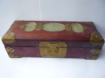 Antique/Old Oriental Chinese Wooden Carved Jade Brass Jewellery Trinket Box