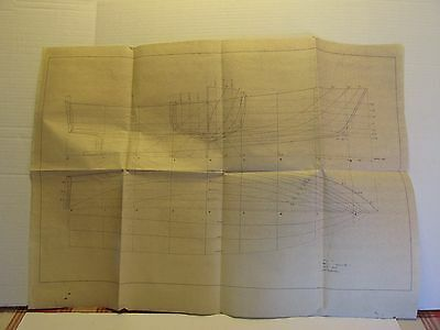 Boat Plans Blueprint Line Drawings 32 ft. Powerboat Signed Dated 1953