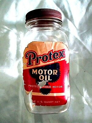 Vintage 1930's Protex motor oil 1 qt. glass jar not tin can