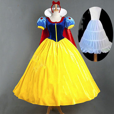 Halloween Snow White Princess Cosplay Costume Adult Fairytale Party Ball Gown