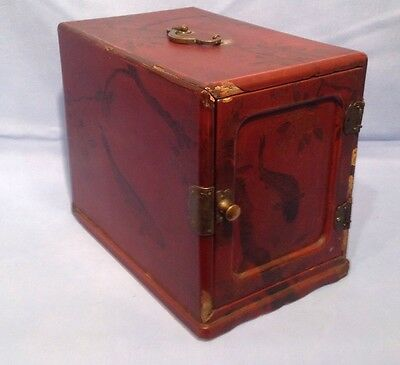 Antique Japanese Lacquered Travelling Jewellery Box Decorated Koi Carp Fish