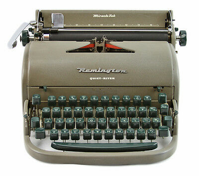 Vintage Green Letter Remington Quiet-Riter Portable Manual Typewriter and case
