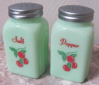 Salt & Pepper Shaker Set - Jade Jadeite Jadite Milk Green Glass Arched Cherries