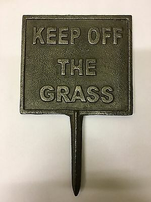 Old vintage cast iron KEEP OFF THE GRASS garden sign plaque