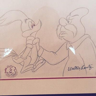 "Walter Lantz ""Woody Woodpecker"" Hand Signed Original Drawing Framed"