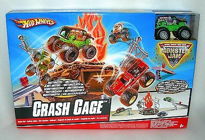 Hot Wheels Monster Jam Crash Cage Play Set inc. Gravedigger Monster Truck - NIDB