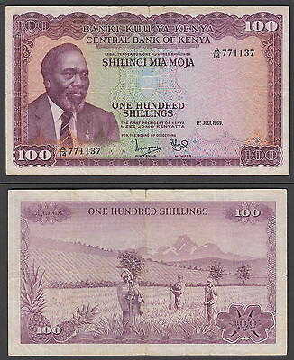 Kenya 100 Shillings 1969 in (F-VF) Condition Banknote P-10