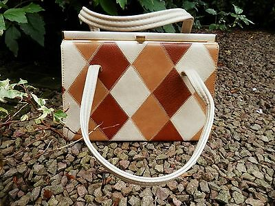 Kelly Bag Vintage Patchwork Design 1960s ELBIEF Brown & Cream Diamonds Lined