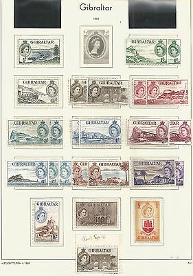 Gibraltar 1953 Definitive Set With Varietys Mint Very High Cat Lot 1Z