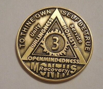 aa alcoholics anonymous 3 month recovery sobriety chip coin token medallion