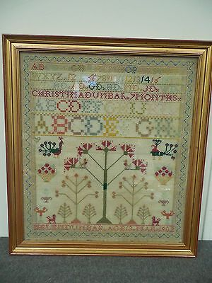 Sampler Framed 1902 by Helen Dunbar 13 Years Old w Family Initials Large Antique