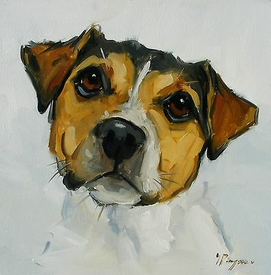Original Oil painting - portrait of a jack russell dog  - by j payne