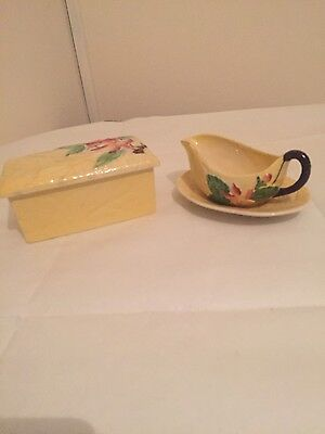 Carlton ware yellow apple blossom gravy boat and butter dish