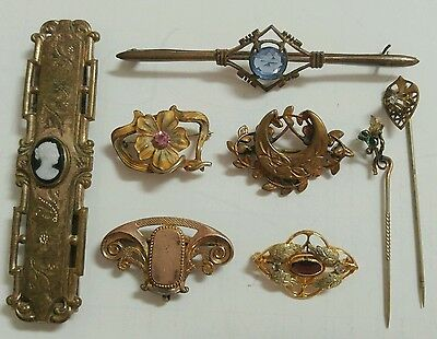 Vintage Gold Filled Jewelry Lot Cameo Belt Clip Brooch Stick Pin
