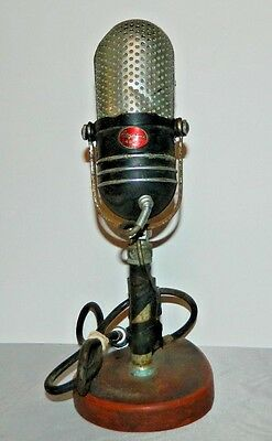 Vtg Argonne AR 57 Pill Crystal Microphone W/Original Cable Mounted On Wood Stand
