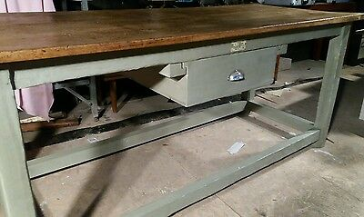 Victorian Farmhouse Kitchen Work Refectory Dining Table Pine Two Plank Top