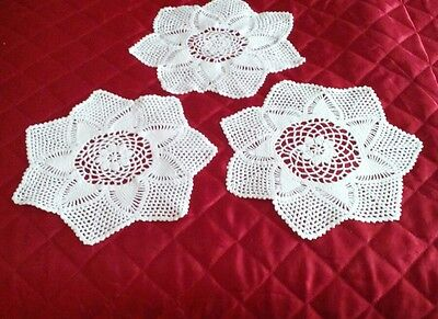 3 Vintage Crochet Lace Table/Tray Mat
