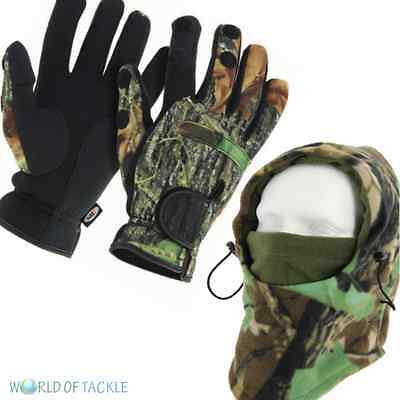 Fishing Gloves and Camo Snood with FaceMask Folding Fingers, SIZES M,L & XL NGT