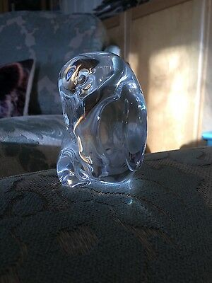 Steuben Rare Mother & Baby Ice Glass Penguins Paperweight cooler signed with box