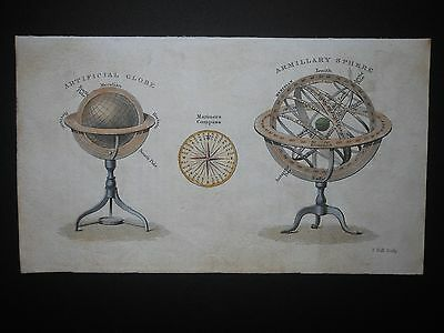 Armillary Sphere Celestial 1850 Instrument Globe Antique Engraved Hand Colored