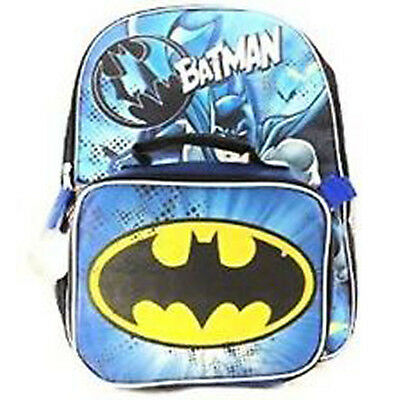 """DC Comics Batman Backpack with Lunch Bag - 16""""H-BRAND NEW-US SELLER"""
