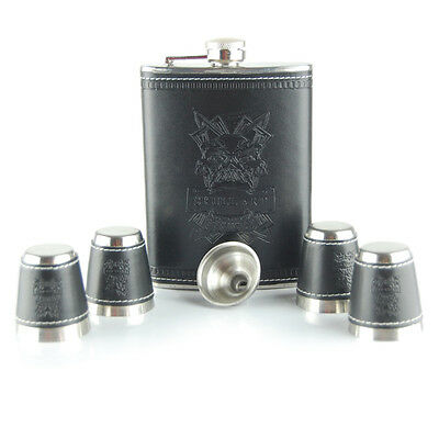 Hip Flask 8 oz Engraved Leather Stainless Steel  4 cups & Funnel - Gift Set Box