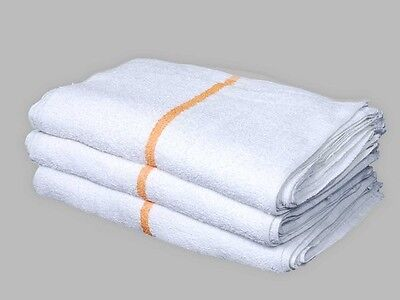 12 BAR MOPS GOLD STRIPE RESTAURANT KITCHEN COMMERCIAL TERRY TOWELS 32oz