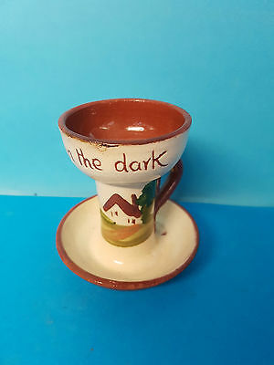 A Light in the Dark Small Torquay Ware Candle Stick / Holder / Chamberstick