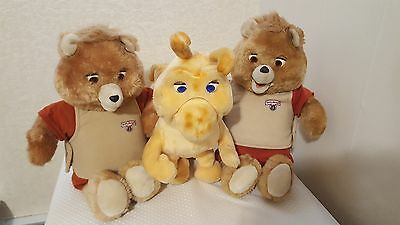 2 - Teddy Ruxpins & 1- Grubby with books & clothes