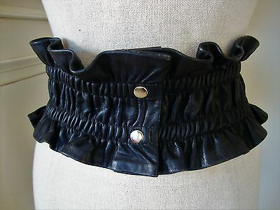 Black Leather Ruched Elasticated Belt Med