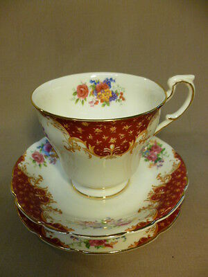 Vintage Paragon Rockingham Red Fine Bone China Coffee Cup Saucer Plate Trio (B)