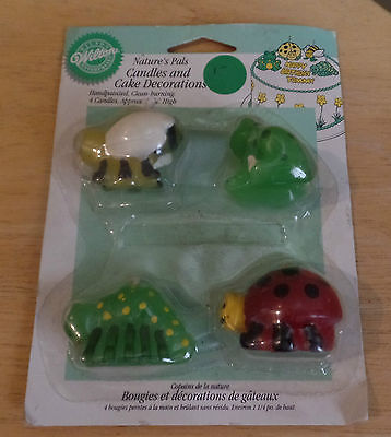 """Vintage """"Nature's Pals"""" CANDLES & Cake DECORATIONS by WILTON~Sealed~NEW"""