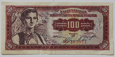 Yugoslavia 100 Dinar banknote issued 1955