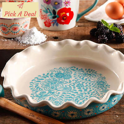 "The Pioneer Woman 9"" stoneware Pie Dish Flea Market Plate Baking Free Shipping"