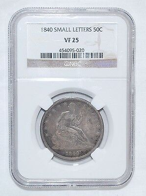 1840 Seated Liberty Half Dollar - Small Letters - Ngc - Vf 25