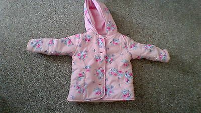 Peacock pink flowery coat for a little girl aged 12-18 months