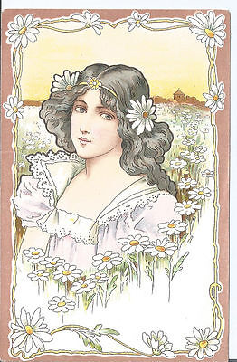 Vtg Art Nouveau pc Girl in Field of Daisies c1900