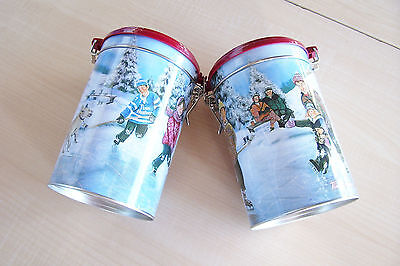 #003 Tim Horton's Limited Edition Coffee Tin Canisters Skating Pond - 2 Lot