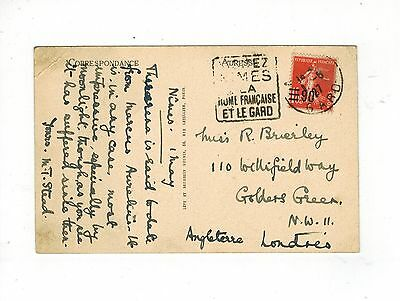 France 1927 Postcard With 90 C Overprint On 1 F 05 Stamp To London