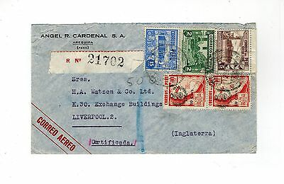 Peru 1945 Registered Cover 2 X Stamps With Arms Of Peru Overprint