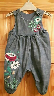 NEXT Baby girl Floral Denim Dungarees Age 3-6 Months