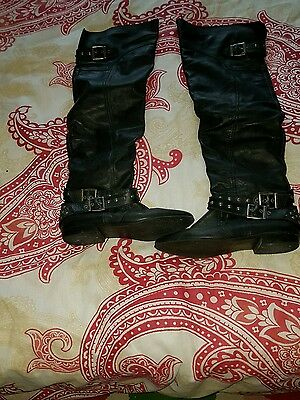ladies black leather river island over the knee boots size 6.